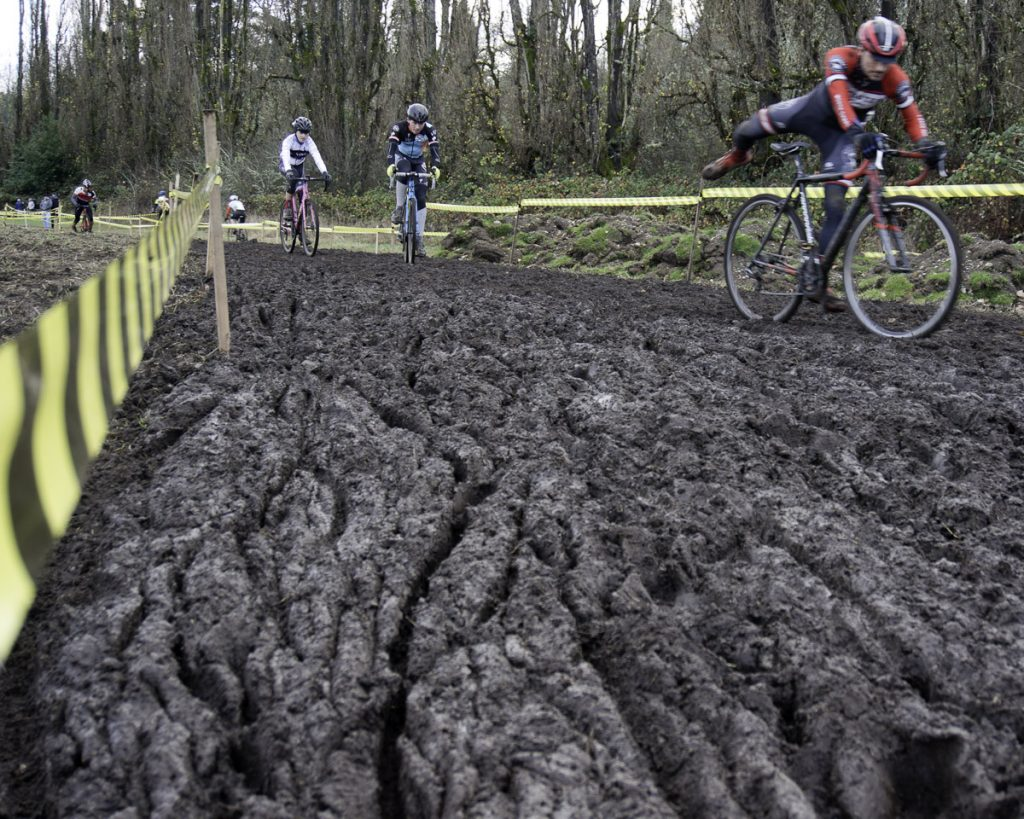 Rutted muddy cyclocross course