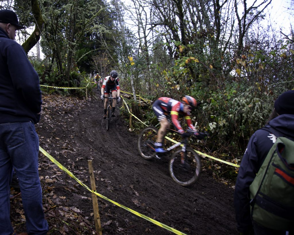 Two riders take on toughest descent at Fort Steilacoom Park cyclocross course