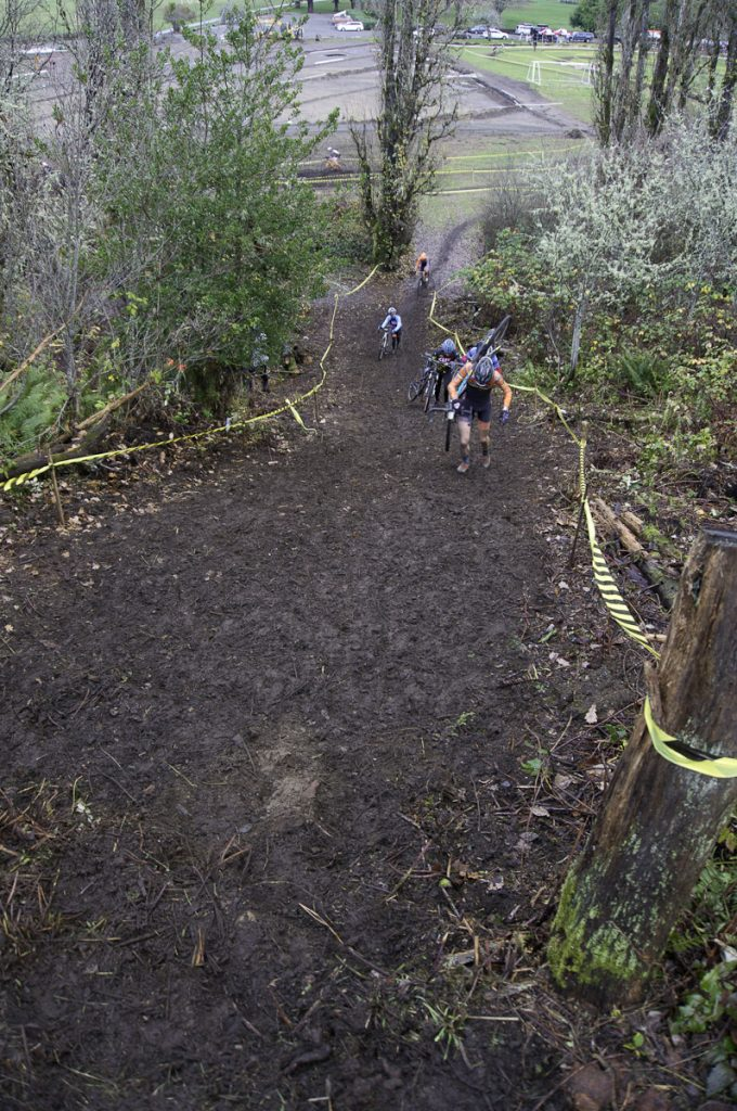 New run up at Fort Steilacoom Park shows riders in distance at bottom