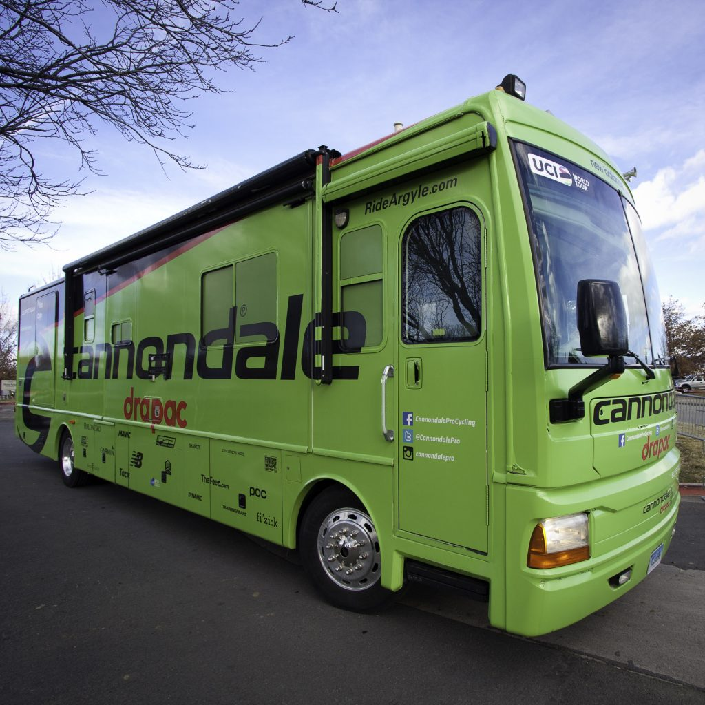 Bus to motorhome conversion in Cannondale livery